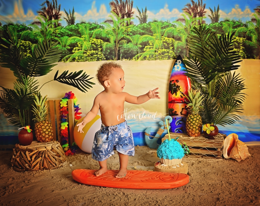 Tropical beach cake smash photography sydney campbelltown